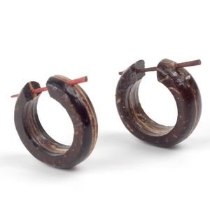 Jewelry - NWT Wooden Circle Coffee color Earrings